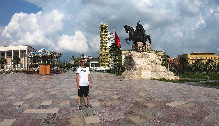 Skanderbeg statute on our roadtrip to balkans