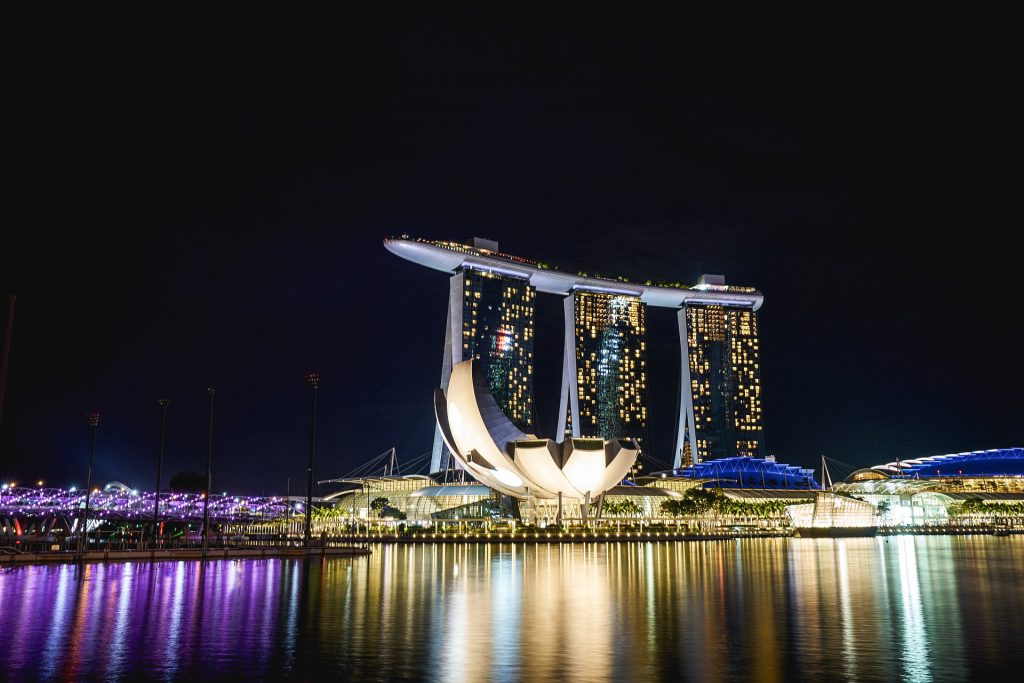 The famous marina bay sands hotel.