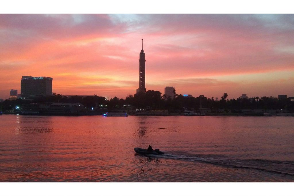 Sunset at Nile river to Egypt