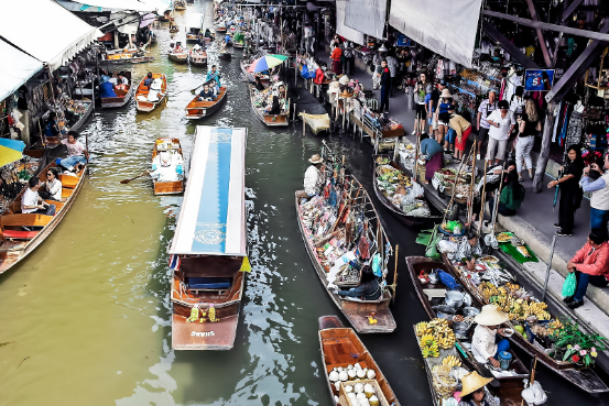 Traditional float market at capital of Thailand